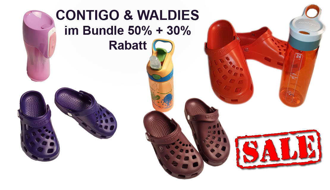 Contigo drinking bottles and Waldies comfortable shoes for children in a special offer package